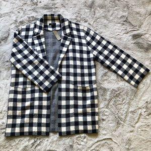J Crew | Gingham Open Front Sweater Blazer NWT